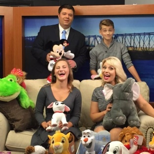 Katharine and her brother Spencer, co-founders of Katharines Wish on set for a promo at WQOW TV-18